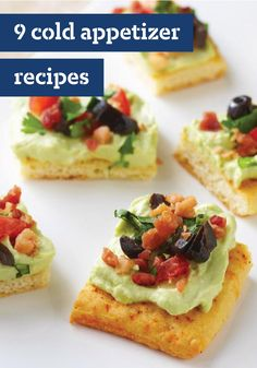 9 Cold Appetizers – You'll find just the right nibble with these recipes for cold appetizers. From these Festive Fiesta Bites to our BLT Deviled Eggs, these hors d'oeuvres are sure to impress your guests at your next get-together. Cold Appetizers, Finger Food Appetizers, Appetizer Dips, Appetizers For Party, Appetizer Recipes, Italian Appetizers, Recipes Dinner, Brunch, Cream Cheese Spreads