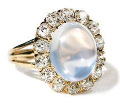 Edwardian Enchantment: Diamond Moonstone Ring