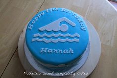 Swimming themed birthday cake featuring the four different swim strokes. Fun cake for a special 11 year old. White cake covered in MMF with MMF swimmers. 12th Birthday Cake, Themed Birthday Cakes, Birthday Cake Girls, Themed Cakes, 10 Birthday, Birthday Ideas, Swimming Cupcakes, Swim Cupcakes, Swimmer Cake