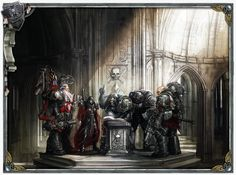 slaaneshi-party-bus:  Little known fact: roleplaying games are very popular in the grimdark future of Warhammer 40,000, but that Sister of Battle shouldn't have tried to rules-lawyer her Deathwatch friend. He seems upset.