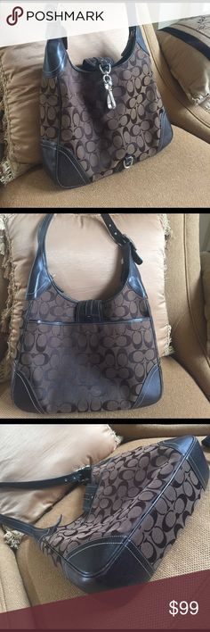 Coach Classic Monogram Purse Chocolate on chocolate handbag with silver hardware. Authentic Coach Product. Coach Bags Shoulder Bags