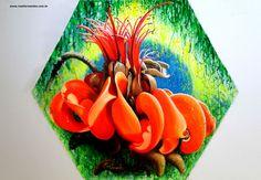 Flor do mulungu - acrílica sobre tela 105X125 cm