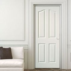 JBK Edwardian 4 Panel Woodgrain Effect Door Is White Primed   Lifestyle  Image