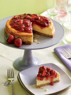 Strawberry-Rhubarb Cheesecake