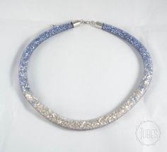 Bead filled Mesh Necklace in silver and iceblue by TubesJewelry on Etsy