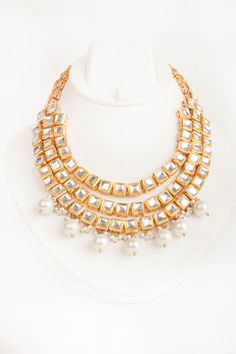 Three layer pearl drop neckpiece by Rever. Shop Now at http://www.onceuponatrunk.com/ #contemporary #fashion #elegant #style #onceuponatrunk #happyshopping #rever