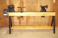 "Conover Wood Lathe Bed and Stand by Steve Bedair -- Homemade lathe bed and stand for a 16"" Conover wood lathe. Bed was fashioned from pine and features angle iron bed ways. Legs were constructed from square steel. Powered by a 1.5 HP variable speed DC motor. http://www.homemadetools.net/homemade-conover-wood-lathe-bed-and-stand"
