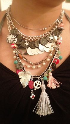 Necklacke hippie chic- hand made-silver plating. with lot of coins, wondeful colorful closer: antique plated chain. on Etsy, 350.00₪