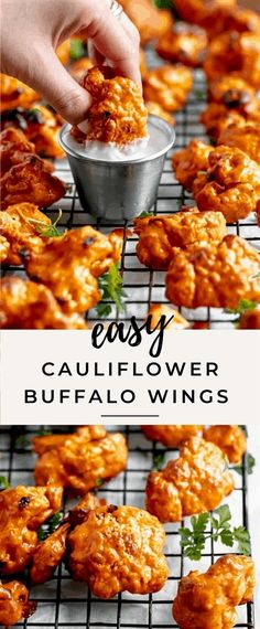 17 reviews · 50 minutes · Serves 6 · This easy buffalo cauliflower wings recipe is the perfect crowd pleasing appetizer to serve up for game day! These baked cauliflower buffalo wings are made with under 10 ingredients and are a great healthy snack! Tasty Vegetarian Recipes, Vegan Dinner Recipes, Vegan Dinners, Veggie Recipes, Healthy Cauliflower Recipes, Crockpot Recipes, Super Healthy Recipes, Turkey Recipes, Vegan Califlower Recipes