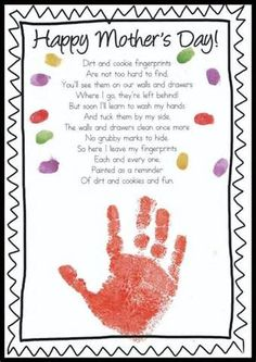 mother's day handprint poems from kids - Bing images