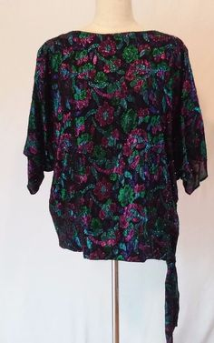 Siasia New York Vintage 1980s Sparkly Evening Top Blouse Women's  Size Small EUC #SiasiaNewYork #Blouse #CasualClub