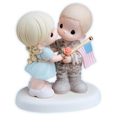 "Precious Moments Military Figurines: ""My Soldier, My Hero"" Porcelain Couple $50.00"