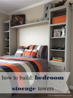 How to Build Bedroom Storage Towers - We needed a storage solution for our 5 year old son's room that could handle books, toys, and collectibles with both open… bedroom ideas Kids Bedroom Furniture, Bedroom Decor, Bedroom Ideas, Bed Ideas, Diy Furniture, Furniture Dolly, Apartment Furniture, Lounge Furniture, Bedroom Designs