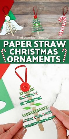 These paper straw Christmas ornaments from Soccer Mom Blog are so adorable! They are made from simple materials and easy for your kids to make. If you are looking for an easy Christmas ornament idea, then you have to make this DIY craft this holiday season! #christmas #holiday #diy #ornament #easy #kids