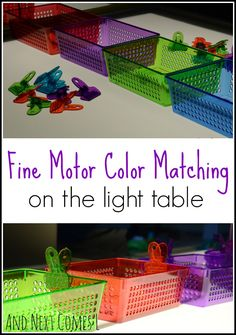 Fine motor light table activity for kids to practice color matching Motor Activities, Sensory Activities, Activities For Kids, Preschool Ideas, Teaching Ideas, Montessori, Home Childcare, Light Board, Learning Stations