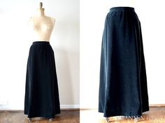 vintage long skirt  1970s long black velvet by shopREiNViNTAGE, $68.00
