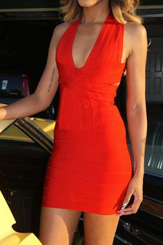 @allthingsslim sizzling hot in this Red Bandage Dress. Also available @thekewlshop