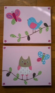 11x14 Girls bedroom decor owl barn bird and butterfly pottery art to match Hayley Penelope Hannah Brooke quilts