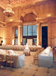 glamorous pink and grey wedding reception