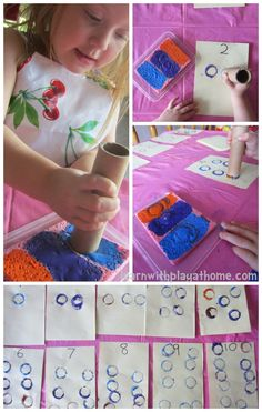 Learn with Play at Home: Counting & Number Recognition with Paper Tubes. Maths Eyfs, Numeracy Activities, Childcare Activities, Art Activities For Toddlers, Kindergarten Math, Learning Activities, Preschool Activities, Library Activities, Preschool Learning