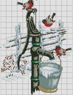 Cross Stitch Bird, Cross Stitch Designs, Cross Stitch Embroidery, Cross Stitch Patterns, Winter Christmas Scenes, Embroidered Bird, Cross Stitch Pictures, Chicken Scratch, Stitch 2