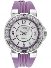 LOISIR Crystals Purple Rubber Strap 11L07-00208 - http://rologia.org/loisir-crystals-purple-rubber-strap-11l07-00208/