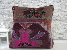 decorative rug pillow 16x16 handmade rug pillow sofa pillow handmade pillow tribal pillow 16x16 carpet pillow natural pillow throw pillow