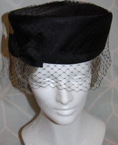77772146928 Perfect Pillbox Vintage 1960s Black Satin Hat with Grosgrain Bow and Netting