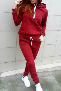 ZOGAA 2019 Casual Women's Tracksuit Two Piece Set Women Outfits Fleece Large Pocket Hooded Pullover Sweat Suits Women Fall Outfits, Casual Outfits, Cute Outfits, Fashion Outfits, Hipster Outfits, Women's Casual, Style Fashion, Beste Leggings, Tracksuit Set