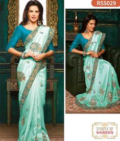 b37f7cdc8daf0 Mint blue saree with blouse. Paired with the matching blouse piece. Raw Silk  ...
