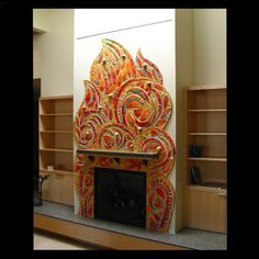 large and over size fireplaces | Garden Fantasy - ceramic mosaic - 6'Wx12'H - Installed in the main ...