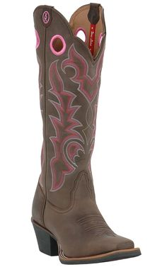 "Tony Lama® 3R™ Ladies 16"" Chocolate w/ Pink Stitch Square Toe Western Boot 