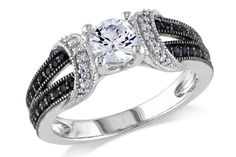1/4 CT Black and White  Diamond TW And 5/8 CT TGW Created White Sapphire Fashion Ring  Silver GH I2;I3 Black Rhodium Plated