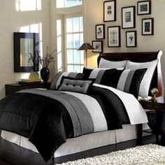 Legacy Decor Modern Black White Grey Luxury Stripe Comforter Set For Men :  Maximize The Comfort In Men Bedroom As Well As Giving Masculine Touch With  Cool ...