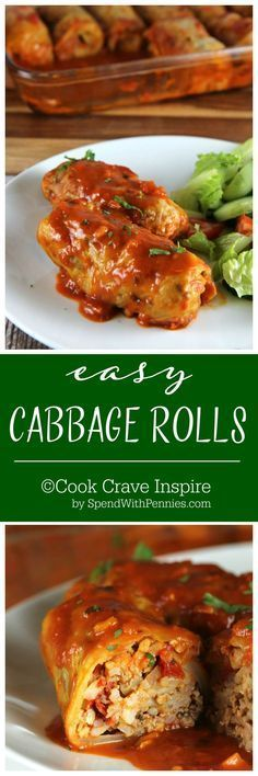 Easy Cabbage Rolls! These easy cabbage rolls are the perfect comfort food! Cabbage leaves stuffed with seasoned beef, pork & rice and baked in a delicious tomato sauce.