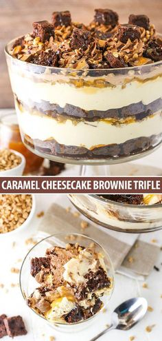 chocolate dessert recipes This Caramel Cheesecake Brownie Trifle is made with layers of creamy caramel cheesecake filling, chewy chocolate brownies, chocolate whipped cream, c Beaux Desserts, Easy Chocolate Desserts, Köstliche Desserts, Chocolate Brownies, Delicious Desserts, Dessert Recipes, Easter Recipes, Chocolate Caramel Cheesecake, Desserts Caramel