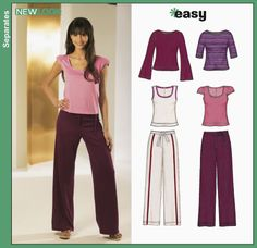 New Look 6324 sizes 8-18 stretch knit only tan, short sleeved long belled sleeve shirt and easy fitting yoga pants