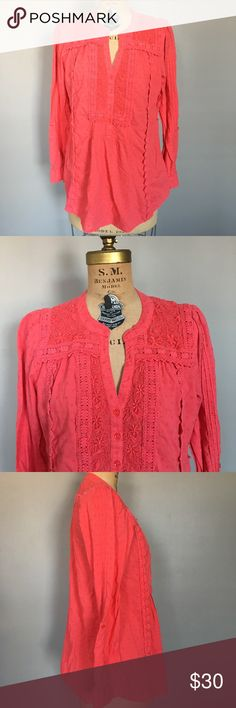 """Anthro Leifnotes Coral Lace Tunic Color is more muted than in photos. Gently worn with no major flaws, although it is missing a belt. Bust 38"""" total length 27"""". Anthropologie Tops Tunics"""