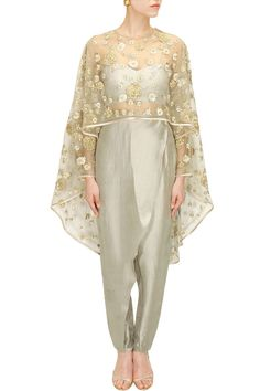 PAYAL SINGHAL Pale grey rose embroidered cape with bustier and pants available only at Pernia's Pop-Up Shop.
