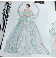 Wedding Dress Sketches, Dress Design Sketches, Fashion Design Sketchbook, Fashion Design Drawings, Fashion Sketches, Fashion Drawing Dresses, Fashion Illustration Dresses, Fashion Illustrations, Croquis Fashion