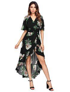 72fd89b44e PRICE : $27.99 MakeMeChic Women's Short Sleeve Floral High Low V-Neck Long  Maxi Dress
