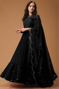 Style Array Present Bollywood Black Color Georget With Foil Print Fancy Thred Work Gown buy - Bollywood Black Color Georget With Foil Print Fancy Thred Work Gown Gown Party Wear, Party Wear Indian Dresses, Designer Party Wear Dresses, Indian Gowns Dresses, Indian Fashion Dresses, Party Wear Lehenga, Indian Designer Outfits, Indian Outfits, Fashion Outfits