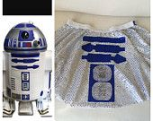 Star Wars R2D2 Inspired Running/Athletic/Figure Skating Circle Skirt/costume Silver and Blue