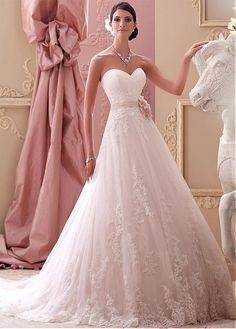 wedding dresses/Spitze A Linie Satin Herz-Ausschnitt Spitze bodenlanges aufgeblähtes Brautkleider