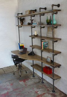 Brooks Reclaimed Scaffolding Board Curved Desk and Shelf Unit utilising Dark Steel Pipe Supports This shelving system can be made to measure to your own specifications. Diy Pipe Shelves, Industrial Pipe Shelves, Industrial Bedroom, Industrial House, Industrial Furniture, Industrial Table, Vintage Industrial, Distressed Furniture, Furniture Vintage
