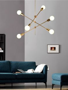 Nordic Simple Pendant Light Electrolplating Golden Pendant Light Living Room Study Light (With images) Design Industrial, Suspension Metal, Room Lights, Fan Lights, Light Art, Lighting Design, Living Room Designs, Room Decor, Decor Room