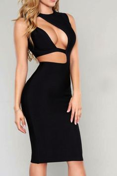 COLOR: Black RUNS BIG *We recommend going up one size for big chested ladies or for those that want a more conservative cleavage* High quality thick bandage material Cut out design in the front Zipper