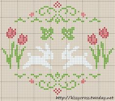 "Cross Stitch Charts [   ""bunny freebie - instead of the two leaves I would rather have our last name, it"