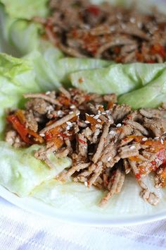 Slow Cooker Asian Chicken Lettuce Wraps. We love this recipe! Perfect summer crockpot meal.