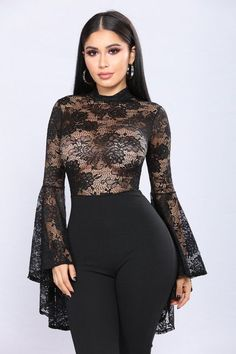 Available In Black Jumpsuit Sheer Lace Bodice Top Tiered Bell Sleeves Zipper Back Closure Self: Polyester, SpandexContrast: Polyester SpandexImported Sexy Dresses, Fashion Dresses, Fashion Styles, Fashion Shoot, Party Fashion, Formal Dresses, Black Lace Jumpsuit, Denim Jumpsuit, Satin Jumpsuit